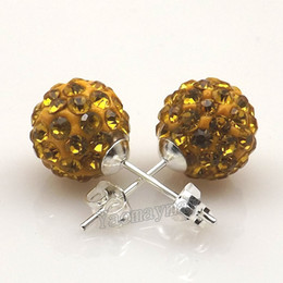 Wholesale Wholesale Gold Disco Ball - New 10mm Gold Disco Balls Rhinestone Shamballa Earring Studs For Holiday 20 Pairs Wholesale Free Shipping
