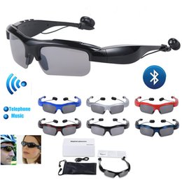 Wholesale Headsets For Motorcycles - Wireless Motorcycle Glasses Bluetooth MP3 Sun Glasses sport Headset V4.1 For Cell mobille Phone for samsung galaxy s7