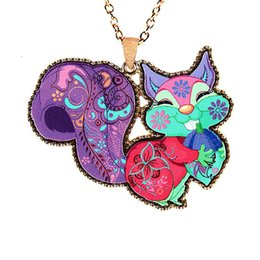 Wholesale Resin Squirrels - Fashion squirrel statement necklaces colourful acrylic aolly lovely animal sweater chains long pendants chain Hallowmas jewelry 0034