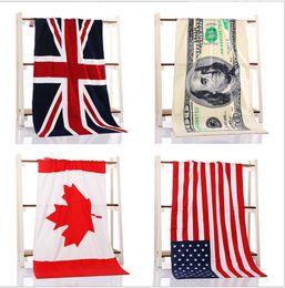 Wholesale British American Flags - 2017 Towel Wholesale Pure Cotton Bath Towel Beach Canadian Flag American Flag British Flag Absorbent Bath Towel 75x140cm