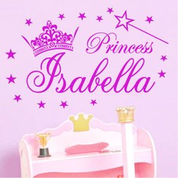 Wholesale Princess Crown Stickers - Custom Name Wall Stickers Crown Princess Girl Bedroom Vinyl Wall Decals Quote Lettering Wallpaper for Kids Rooms Home decor