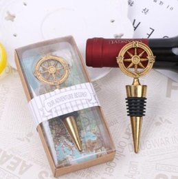 Wholesale Wedding Souvenir Wine - Golden Compass Wine Stopper Wedding Favors And Gifts Wine Bottle Opener Bar Tools Souvenirs For Party Easter CCA6868 100pcs