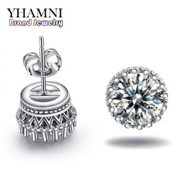 2019 flor de bulbo rosa YHAMNI Nova Chegada Venda Quente Super Brilhante Diamante 925 Sterling Silver Ladies Stud Crown Brincos de jóias por atacado E100