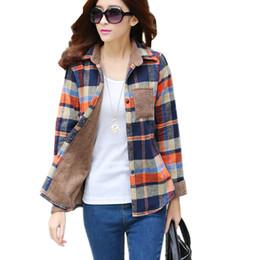 Wholesale Thickening Plaid Shirt - Wholesale- 2017 New Women's Winter Blouse Shirts Fashion Casual Warm Cardigan Shirts Female Long Sleeve Thickening Plaid Shirt Blusas Tops