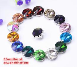 Wholesale Loose Diamond Glass - Sewing Loose Buttons 16mm 30pcs lot Round Crystal Buttons With Metal Claws Settings Sew On Accessories Wholesale
