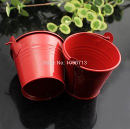 Wholesale Metal Favor Pail Candy - 20X Red Mini Candy Buckets Wedding Pails Party Favor Metal Buckets Wedding Candy Box