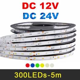 Wholesale 24v Led Red Light - 2835 5050 5630 12V 24V RGB Led Strip Light 60LEDs m 5M 300LEDs Flexible Led Tape Rope Lights Warm   White Red Blue Green