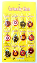 Wholesale Ball Keychains - 3Sheets 36 pcs Cartoon Round Avengers Superman Batman Spiderman Iron Man Silicone Pendant Figure Model Key Chain For Best Gift