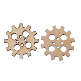 Wholesale Packet Clothes - Packet Of 200 X Pale Beige Wood 20mm Gear Buttons (4 Holes) Fit Sewing Or Scrapbooking Diy Craft And Clothing Decoration I249L
