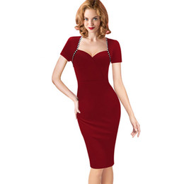 Wholesale Sexy Office Wear Womens - Womens Elegant Sexy Vintage Dress V neck Retro Pinup Tunic Wear to Work Office Business Casual Party Pencil Sheath Bodycon Dress DK9013CL