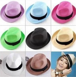 Wholesale Soft Straw Hats Wholesale - New Fashion Men Women Unisex Straw Hat Outdoor Fedora Hats Summer Beach Soft Jazz Caps High Quality