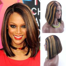 Wholesale Peruvian Straight Hair Highlight - 14inch 150% Density Brazilian U Part Bob Wigs Highlight Color 30 1x4 Parting Glueless Bob Wig Short U Part Wig Brazilian Hair