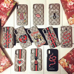 Wholesale Embroidery Cases - Luxury brand embroidery tiger snake mobile phone shell Case for Apple iphone X 7 7plus 8 8plus hard back cover for iphone 6 6S 6plsu