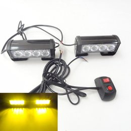 Wholesale auto police - Free Shipping 2x 4 LED Car Police Strobe Flash Light Modes Auto Warning Light 8W High Power Caution Lamp