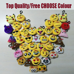 Wholesale Dolls Toys For Girls - Emoji Smile Keychain Yellow QQ Expression Pikachu Elf Pokeball Go Keychains Toys Doll PPCotton 2017 Toy Mobile Bag 6cm For Christmas Gifts