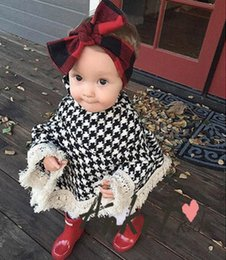 Wholesale Poncho Collar Wool - INS Baby shawl children plaid high collar poncho coat girls hollow tassel lace princess cloaks autumn kids capes outwear R0034