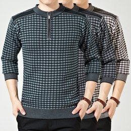 Wholesale Men S Attire - Wholesale-Brand New Winter Middle-aged Men's Business Attire Men's Thick Sweater Shirt Men Fashion Plaid Sweater 3 Colors M-XXL