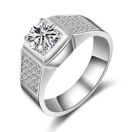 Wholesale Synthetic Jewelry Stone - LSL Jewelry Men Ring 1.25 Ct Lab-Created SONA Synthetic Simulated Diamond Ring for Men 925 Sterling Silver Ring Platinum Plated Jewelry