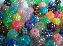 Wholesale Epoxy Oval - 100 pcs lot 10mm 12mm White mixed multicolor Chunky Epoxy Resin Rhinestones Ball Beads free shipping Basketball Spacer Bead Jewelry Finding