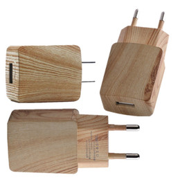 Wholesale ac design - New 5V 1A high quality EU US Ac home wall charger Wooden Fashion design power adapter for iphone 7 8 Samsung htc android phone