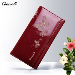 Wholesale Cards Design Pattern - 2017 New Design Cowhide Leather Wallet Women Luxury Brand Fashion Butterfly Pattern Long Womens Wallets and Purses Ladies Clutch