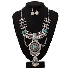Wholesale Luxury Boho Fashion - 2016 Power New Fashion Vintage Statement Necklace Ethnic Long Pendant Bohemian Maxi Necklace Women Coin Boho Chain Luxury Choker Jewelry