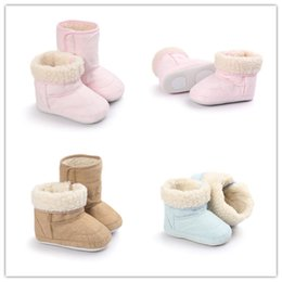 Wholesale Fur Boots Newborn - Baby fur Snow Boots toddlers Fur Thicken Warm shoes Boy Girl non-slip First Walker Shoes Infant Boots Newborn Shoes 0-24M 3colors free ship