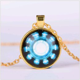 Wholesale Iron Man Arc - 25mm Time Gemstone Pendant Necklace Avengers Iron Man Captain American Heart Arced 50cm Chain Necklaces jewelry for Men Women