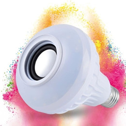 Wholesale E27 6w Rgb Led - Wireless Bluetooth 6W LED Speaker Bulb Audio Speaker LED Music Playing Lighting With 24 Keys E27 Remote Control 20pcs