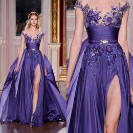 Wholesale Zuhair Murad Burgundy Chiffon Dress - Zuhair murad 2016 Lavender Chiffon Side Split Overskirts Evening Dresses Sexy Sheer Neckline Embroidery Long Formal Party Gowns EN6294