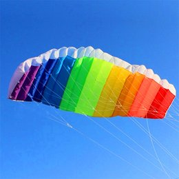 Wholesale Kite Stunt - Wholesale- free shipping high quality 2.7m dual line rainbow stunt power kite with control bar lines kitesurf paraglider outdoor fun