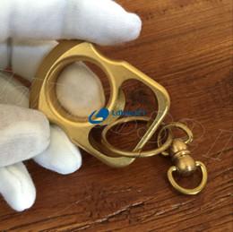 Chaveiros artesanais on-line-Tiger Finger Handmade Solid EDC Latão Chaveiro Anel Tático Ao Ar Livre Auto-defesa Abridor de Garrafas Conjunto de Ferramentas