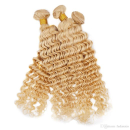 Wholesale Wholesale Diamond Hair Weave - Remy Human Hair Weave Deep Wave Malaysian Virgin Hair Bundles 613 Blonde For Black Women Vendors Hair Extension Queenlike 9A Diamond Grade