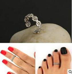 Wholesale Metal Alloy Ring Antique - Women Lady Elegant Adjustable Antique Silver Metal Toe Ring Foot Beach Jewelry