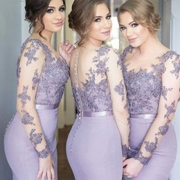Wholesale Cheap Sequin Fishtail Dress - Lavender Lace Stain Long Sleeve Mermaid Garden Bridesmaids Dresses 2017 Sheer Neck Covered Button Fishtail Maid of Honor Dress Cheap