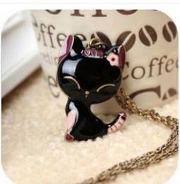 Wholesale Vintage Oil Painting Chain - fashion vintage black oil cat paint long design necklace female cat necklace 0108