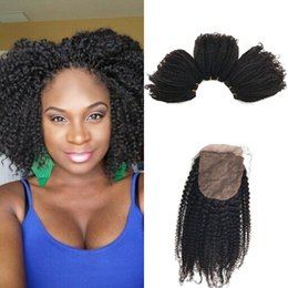 Wholesale Malaysian Curly Silk - Afro Kinky Curly Silk Base Closure with 3 Bundles Malaysian Human Hair Natural Color with Closure FDSHINE