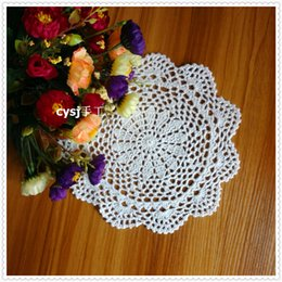 """Wholesale Natural Bamboo Coasters - Wholesale- Korean women like 20 pcs 8.5"""" round lace coasters mugs by natural cotton cutout flower design for wedding decoration mat"""