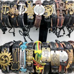 Wholesale Womens Bracelet Styles - Band New Vintage Leather Mens Womens Surfer Bracelet Cuff Wristband 50pcs lots Mixed Style Retro Jewelry Charm Bracelet