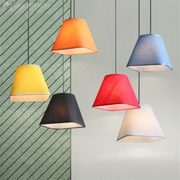 Wholesale Cloth Pendant Light Cord - Wholesale- Nordic modern colorful cloth pendant lamp fabric lamshade lights for living room bedroom bar cafe home lighting fixtures decor