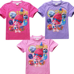 Wholesale Baby Troll - 3 Color Trolls Poppy Branch Boy girl T-shirts new children cartoon Poppy Biggie Short sleeve T-shirts baby clothes B001