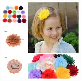 "Wholesale Fabric Flower Trimmings - Wholesale 100PCS 2.5"" Shabby Chiffon Flower Rosette Shabby Rose Trim Frayed Flowers baby hair accessories Single flower Fabric flower"