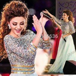 Wholesale Sexy Singers - Famous Lebanon Singer Celebrity Myriam Fares Sparkly Prom Dresses Crystal Sequined 3 4 Sleeve Mint Pageant Gown Sexy Backless Saudi Arabia