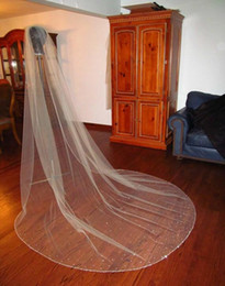 Wholesale Rhinestone Chapel Length Veils - 2016 Romantic One-Layer Bridal Veil Cathedral Length Tulle Rhinestones Wedding Veils Beaded Edge White Or Ivory Bride's Veil Hot Sale