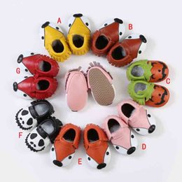 Wholesale First Foxes - INS fox halloween leather tassels moccasins baby soft sole PU leather first walker shoe moccasins shoes kids moccs Soft rubber soles