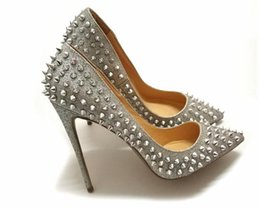 Wholesale Large Spikes - Glitter Spikes Women Summer Shoes Studded Rivets Silver Heels Shoes Women large size 34-45 stiletto shoes