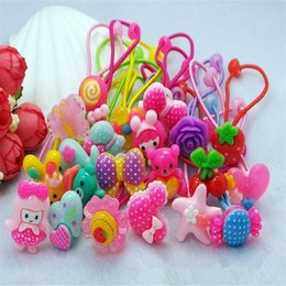 Wholesale Hair Flower Patterns - Wholesale- Rushed 20 Pcs Baby Girls Headband Hair Elastic Bands Scrunchy Ponytail Holder Accessories Flower Pattern Ties