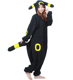 Wholesale Unisex Pikachu Onesie - 2016 New Poke mon Character Umbreon Onesies Onesie Anime Pocket Monster Cosplay Costume Fleece Pikachu Sleepwear Pajamas Umbreon jumpsuit