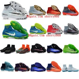 Wholesale Outdoor Spikes - 2018 youth cr7 soccer cleats mercurial superfly V DF FG TF Classic kids football boots boys mens soccer shoes cristiano ronaldo neymar Boots