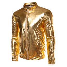 Wholesale Night Club Wear Men - Autumn Fashion Mens Silver Jacket Coated Metallic Gold Silver Hip Hop Jackets For Men Night Club Wear Shiny Jacket